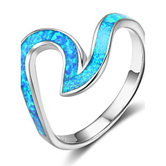 Women's Band Rings Synthetic Opal Personalized Sterling Silver Irregular Jewelry For Gift