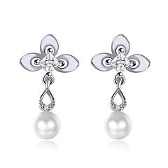 Women's Drop Earrings Cubic Zirconia Pearl Cute Style Fashion Pearl Zircon Flower Drop Jewelry For Party Work