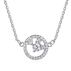 お買い得  ネックレス-女性用 ダイヤモンド ペンダントネックレス  -  純銀製 ファッション シルバー ネックレス ジュエリー 用途 贈り物, 日常
