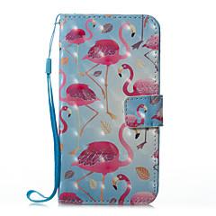 для чехлов крышка держатель карты кошелек с подставкой флип магнитный рисунок полный футляр для тела фламинго твердая кожа pu для яблока
