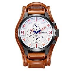 お買い得  メンズ腕時計-男性用 リストウォッチ 日本産 カレンダー レザー バンド チャーム / カジュアル / ファッション ブラック / ブラウン / ステンレス