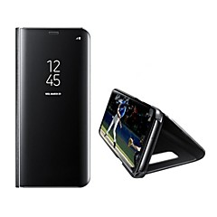 billige Galaxy S6 Edge Etuier-Etui Til Samsung Galaxy S8 Plus S8 Med stativ Spejl Auto Sove/Vågne Heldækkende Helfarve Hårdt Kunstlæder for S8 S8 Plus S7 edge S7 S6