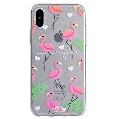 billige Dagens Tilbud-Etui Til Apple iPhone X iPhone 8 iPhone 8 Plus Transparent Mønster Bagcover Flamingo Glitterskin Blødt TPU for iPhone X iPhone 8 Plus