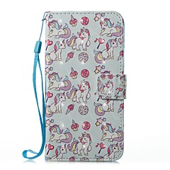 Недорогие Кейсы для iPhone 6-Кейс для Назначение Apple iPhone X iPhone 8 Plus Бумажник для карт Кошелек со стендом Флип Магнитный С узором Чехол единорогом Твердый