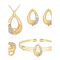 voordelige Sieradensets-Dames Zirkonia Roos verguld Legering Bal Bling bling Modieus Feest Avond Feest Armband Oorbellen Kettingen Ring Kostuum juwelen