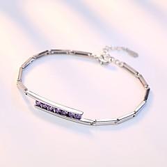 preiswerte Armbänder-Damen Kubikzirkonia Geometrisch Ketten- & Glieder-Armbänder - Sterling Silber Armbänder Silber / Purpur Für Hochzeit / Party