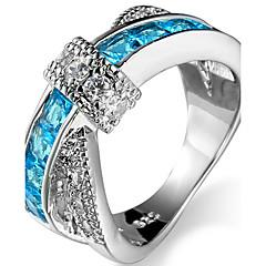 preiswerte Ringe-Damen Kubikzirkonia Bandring / Knöchel-Ring - Zirkon, Kupfer Klassisch, Süß, Modisch 6 / 7 / 8 Grün / Hellblau / Königsblau Für Hochzeit / Party / Geburtstag