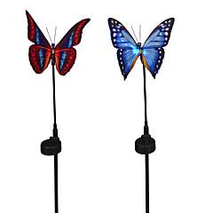 2pcs motyl naładowany energią słoneczną na ogrodzie trawnik dekoracja światłowód światłowód światłowód z czujnikiem rgb zmiana światła