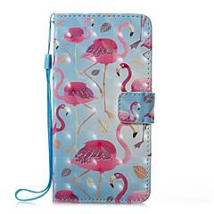 Кейс для Назначение Huawei P8 Lite (2017) P10 Lite Кошелек Бумажник для карт со стендом Флип С узором Магнитный Чехол Фламинго Твердый