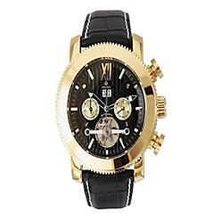お買い得  メンズ腕時計-男性用 機械式時計 自動巻き 30 m 耐水 カレンダー レザー バンド ハンズ ブラック / ブラウン - 黒とゴールド ゴールド / ホワイト ブラック / シルバー