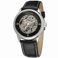 お買い得  メンズ腕時計-FORSINING 男性用 リストウォッチ 自動巻き 30 m 透かし加工 レザー バンド ハンズ ヴィンテージ カジュアル ファッション ブラック - ゴールド ホワイト ブラック / ステンレス