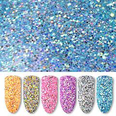 Χαμηλού Κόστους -6 φιάλες / σετ 40g στρογγυλό καρφί τέχνη glitter πούλιες 6 χρώματα μικτή νύχι γυαλιστερό σε σκόνη γυναίκες νυχιών διακόσμηση εργαλεία