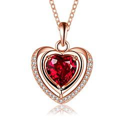 preiswerte Halsketten-Damen Kristall Kubikzirkonia Anhängerketten / Ketten - versilbert Herz Erklärung, Einfach, Retro Silber, Rotgold Modische Halsketten Schmuck Für Party