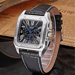 お買い得  メンズ腕時計-Jaragar 男性用 カジュアルウォッチ ファッションウォッチ ドレスウォッチ 自動巻き 20 m クール レザー バンド ハンズ カジュアル ホワイト ブラック / ステンレス