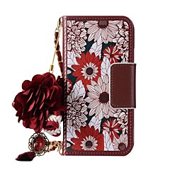 Недорогие Кейсы для iPhone 5-Кейс для Назначение Apple iPhone X iPhone 8 Бумажник для карт Кошелек со стендом Флип Магнитный С узором Своими руками Чехол Цветы Твердый
