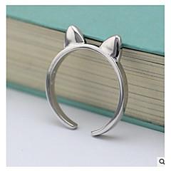 お買い得  指輪-女性用 指輪  -  純銀製 ネコ シンプル, 甘い ワンサイズ シルバー 用途 日常 / カジュアル