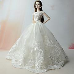 Vestidos Vestido Para Boneca Barbie Branco Vestido Para Menina de Boneca de Brinquedo