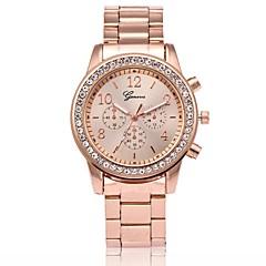 preiswerte Damenuhren-Herrn Damen Quartz Armbanduhr Modeuhr Chinesisch Armbanduhren für den Alltag Rose Gold überzogen Metall Band Luxus Rotgold