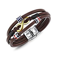 preiswerte Armbänder-Herrn Geometrisch Wickelarmbänder - Leder Armbänder Braun Für Alltag Formal