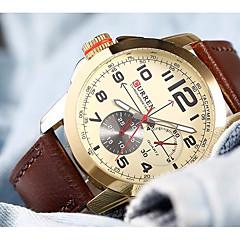 preiswerte Tolle Angebote auf Uhren-CURREN Herrn Armbanduhr Japanisch Wasserdicht / Großes Ziffernblatt / Armbanduhren für den Alltag Leder Band Freizeit / Elegant Braun