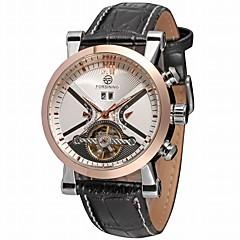 FORSINING Heren Modieus horloge Dress horloge Polshorloge Automatisch opwindmechanisme Kalender Hol Gegraveerd Leer Band Luxe Informeel
