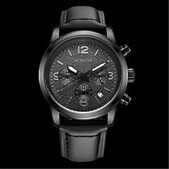 お買い得  大特価腕時計-男性用 リストウォッチ クォーツ 耐水 カレンダー 夜光計 レザー バンド ハンズ カジュアル ファッション ブラック - グレー コーヒー Brown