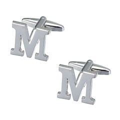 cheap Cufflinks-Silver Cufflinks Copper Alphabet Shape Romantic Men's Costume Jewelry For New Year