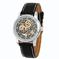 voordelige Horloges met leren band-Heren Horlogedoosjes Unieke creatieve horloge mechanische horloges Polshorloge Skeleton horloge Dress horloge Modieus horloge