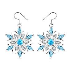 voordelige Druppeloorbellen-Dames Druppel oorbellen Synthetische Sapphire Eenvoudig Modieus Elegant Koper Glas Sneeuwvlok Sieraden Bruiloft Feest