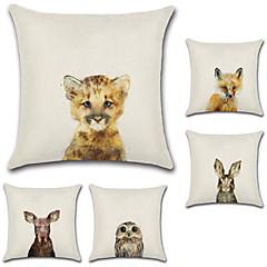 tanie Poduszki-5 szt Cotton / Linen Pokrywa Pillow,Wzór zwierzęcy Styl artystyczny Retro