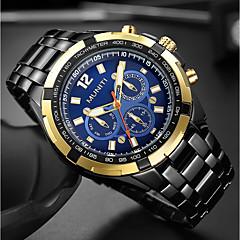 お買い得  大特価腕時計-男性用 リストウォッチ クォーツ 30 m クール 大きめ文字盤 ステンレス バンド ハンズ ぜいたく ファッション ブラック / シルバー - 黒とゴールド ブルー ブラック / シルバー 1年間 電池寿命 / 三菱LR626