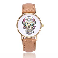 preiswerte Damenuhren-Damen Quartz Armbanduhr Chinesisch Totenkopf Armbanduhren für den Alltag PU Band Freizeit Totenkopf Einzigartige kreative Uhr Schwarz