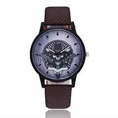 preiswerte Tolle Angebote auf Uhren-Herrn Damen Quartz Armbanduhr Chinesisch Totenkopf PU Band Retro Freizeit Einzigartige kreative Uhr Cool Halloween Schwarz Blau Braun