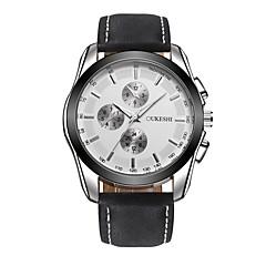 お買い得  大特価腕時計-男性用 リストウォッチ クォーツ 耐水 レザー バンド ハンズ カジュアル ファッション ブラック / ブラウン - Black / Brown ブラック / ホワイト ホワイト / ベージュ