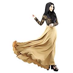 olcso -Arab öltözék Abaya Nő Fesztivál / ünnepek Mindszentek napi kösztümök Bíbor Zöld Bézs Egyszínű