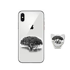 Недорогие Кейсы для iPhone-Кейс для Назначение Apple iPhone X iPhone 8 Plus со стендом Кейс на заднюю панель дерево Мягкий ТПУ для iPhone X iPhone 8 Pluss iPhone 8