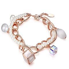 tanie Bransoletki-Damskie Bransoletki i łańcuszki na rękę Bransoletki z breloczkami Kryształ Pearl imitacja Koreański Modny Elegancki Kryształ Imitacja