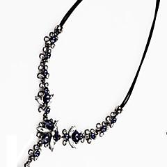 お買い得  ネックレス-女性用 クリスタル Yネックレス - クリスタル フラワー クラシック, ファッション ダークブルー ネックレス 用途 パーティー, 式典