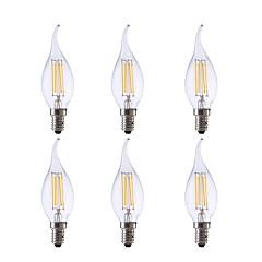 preiswerte LED-Birnen-GMY® 6pcs 3.5W 350lm E12 LED Glühlampen CA10 4 LED-Perlen COB Abblendbar Dekorativ LED-Lampe Warmes Weiß 110-130V