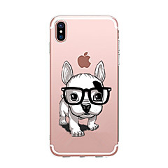 olcso iPhone 6s Plus tokok-Case Kompatibilitás Apple iPhone X iPhone 8 Átlátszó Minta Fekete tok Kutya Puha TPU mert iPhone X iPhone 8 Plus iPhone 8 iPhone 7 Plus