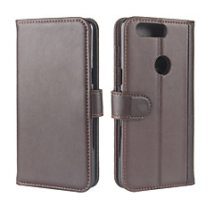 olcso Tokok-Case Kompatibilitás OnePlus 5 OnePlus 5T Pénztárca Kártyatartó Állvánnyal Flip Teljes védelem Tömör szín Kemény Valódi bőr mert One Plus