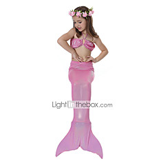 The Little Mermaid 수영복 비키니 키드 크리스마스 가장 무도회 페스티발 / 홀리데이 할로윈 의상 핑크 블루 솔리드