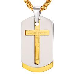 Муж. Крест Классика На каждый день Ожерелья с подвесками , Нержавеющая сталь Ожерелья с подвесками , Повседневные