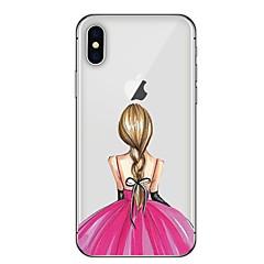 Недорогие Кейсы для iPhone 7 Plus-Кейс для Назначение Apple iPhone X iPhone 8 Plus С узором Кейс на заднюю панель Соблазнительная девушка Мягкий ТПУ для iPhone X iPhone 8