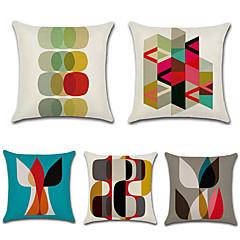 tanie Poduszki-5 szt Cotton / Linen Pokrywa Pillow,Geometryczny Styl artystyczny Retro