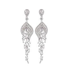 preiswerte Ohrringe-Damen Tropfen-Ohrringe - Zirkon Blattform Europäisch, Elegant Silber Für Verlobung / Party