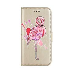 Недорогие Кейсы для iPhone X-Кейс для Назначение Apple iPhone X iPhone 8 Бумажник для карт Кошелек со стендом Чехол Фламинго Твердый Кожа PU для iPhone X iPhone 8