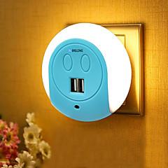 preiswerte Ausgefallene LED-Beleuchtung-BRELONG® 1pc Steckdose Nachtlicht Smart Sensor Dual USB US Handyladegerät Nacht Lichtsteuerung