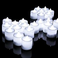 preiswerte Ausgefallene LED-Beleuchtung-24pcs führte Kerze Mehrfarbenlampen-Simulationsfarbflamme-Teelichthaushochzeitsgeburtstagsfeierdekoration dropshipping