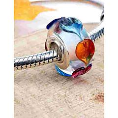 お買い得  ビーズ&ジュエリー製作-DIYジュエリー 1 個 ビーズ ガラス 合金 シルバー 円形 ビーズ 0.2 cm DIY ネックレス ブレスレット
